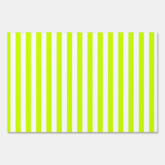 Thin Stripes - White and Fluorescent Yellow Sign