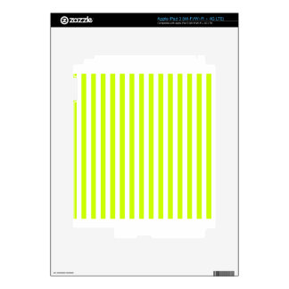 Thin Stripes - White and Fluorescent Yellow Skin For iPad 3
