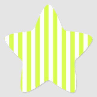 Thin Stripes - White and Fluorescent Yellow Star Sticker