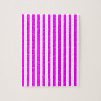 Thin Stripes - White and Fuchsia Jigsaw Puzzle