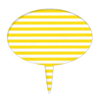 Thin Stripes - White and Golden Yellow Cake Topper
