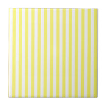 Thin Stripes - White and Lemon Ceramic Tile