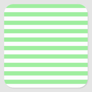 Thin Stripes - White and Light Green Square Sticker