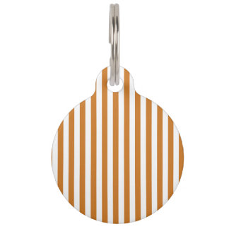 Thin Stripes - White and Ochre Pet Tag