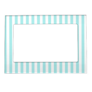 Thin Stripes - White and Pale Blue Magnetic Photo Frame