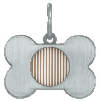 Thin Stripes - White and Pale Brown Pet Name Tag