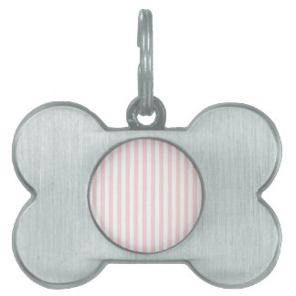 Thin Stripes - White and Pale Pink Pet ID Tag