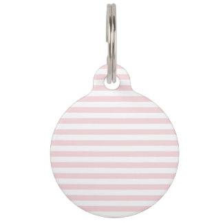 Thin Stripes - White and Pale Pink Pet Tag