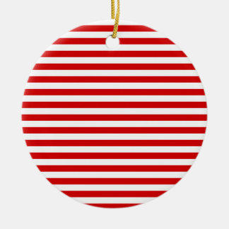 Thin Stripes - White and Rosso Corsa Ceramic Ornament