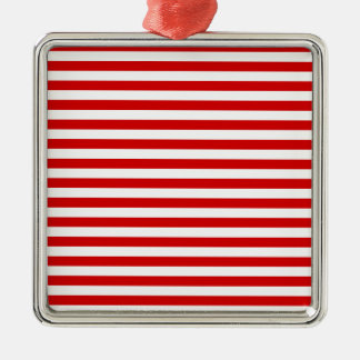 Thin Stripes - White and Rosso Corsa Metal Ornament