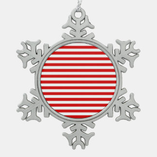 Thin Stripes - White and Rosso Corsa Snowflake Pewter Christmas Ornament