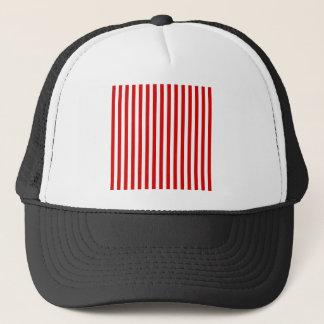Thin Stripes - White and Rosso Corsa Trucker Hat