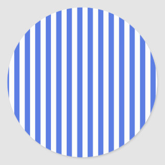 Thin Stripes - White and Royal Blue Classic Round Sticker