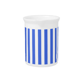 Thin Stripes - White and Royal Blue Drink Pitcher