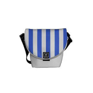 Thin Stripes - White and Royal Blue Messenger Bag