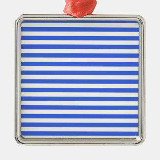 Thin Stripes - White and Royal Blue Metal Ornament