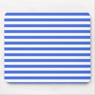 Thin Stripes - White and Royal Blue Mouse Pad