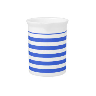 Thin Stripes - White and Royal Blue Pitcher