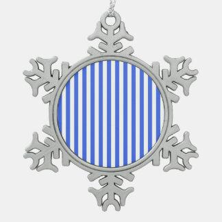 Thin Stripes - White and Royal Blue Snowflake Pewter Christmas Ornament