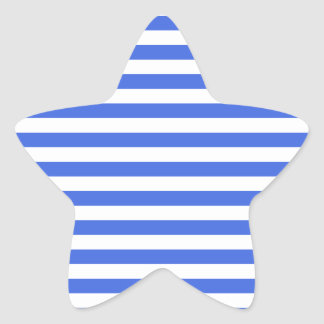 Thin Stripes - White and Royal Blue Star Sticker