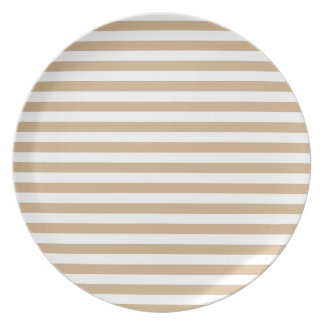 Thin Stripes - White and Tan Melamine Plate