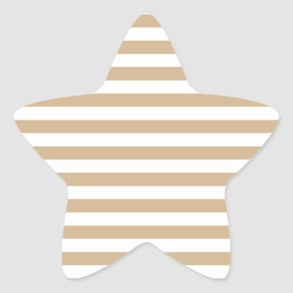 Thin Stripes - White and Tan Star Sticker