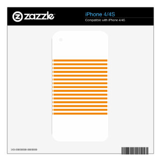 Thin Stripes - White and Tangerine Decal For The iPhone 4S