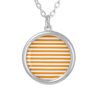 Thin Stripes - White and Tangerine Silver Plated Necklace