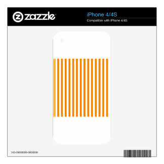 Thin Stripes - White and Tangerine Skin For The iPhone 4