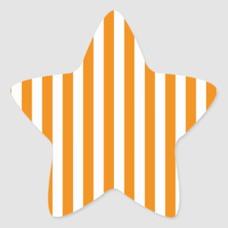 Thin Stripes - White and Tangerine Star Sticker