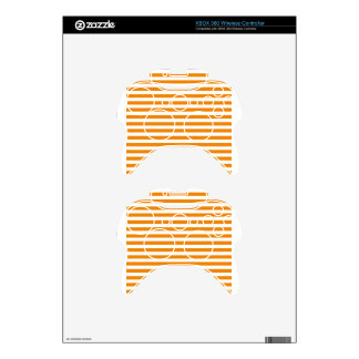 Thin Stripes - White and Tangerine Xbox 360 Controller Decal