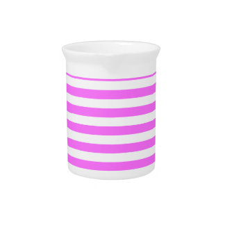 Thin Stripes - White and Ultra Pink Beverage Pitcher