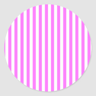 Thin Stripes - White and Ultra Pink Classic Round Sticker