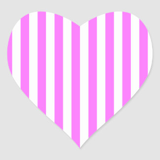 Thin Stripes - White and Ultra Pink Heart Sticker