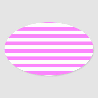 Thin Stripes - White and Ultra Pink Oval Sticker