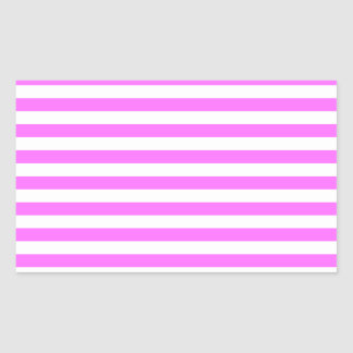 Thin Stripes - White and Ultra Pink Rectangular Sticker