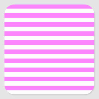 Thin Stripes - White and Ultra Pink Square Sticker