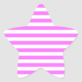 Thin Stripes - White and Ultra Pink Star Sticker