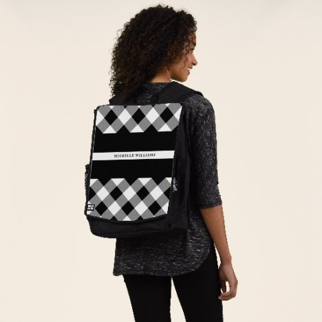Thin White Line EMS EMT Buffalo Plaid Monogram Backpack