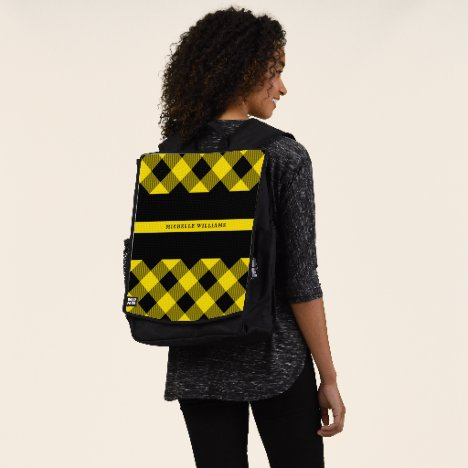 Thin Yellow Line Dispatcher Buffalo Plaid Monogram Backpack