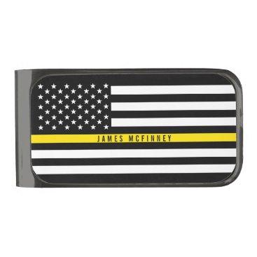 Thin Yellow Line Dispatchers Flag Custom Name Gunmetal Finish Money Clip