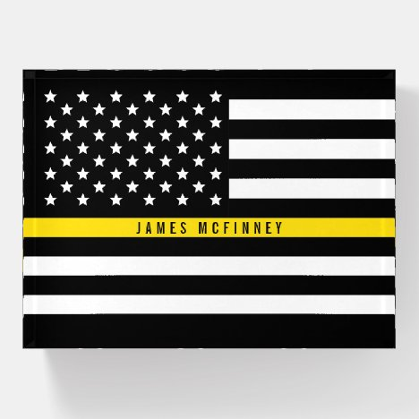 Thin Yellow Line Dispatchers Flag Custom Name Paperweight