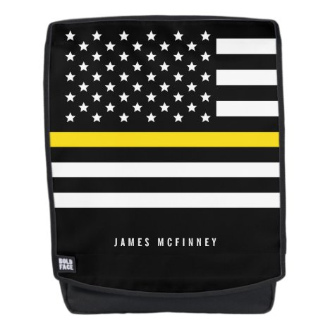 Thin Yellow Line Dispatchers Monogrammed Name Backpack