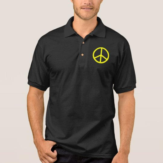 Thin Yellow Peace Sign Polo Shirt