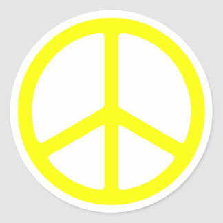Thin Yellow Peace Sign Round Stickers