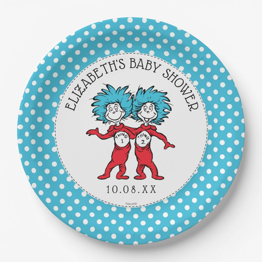 Thing 1 Thing 2 | Twins Baby Shower Paper Plate