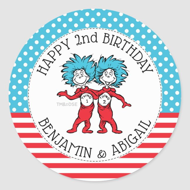 Thing 1 Thing 2 | Twins Birthday Classic Round Sticker