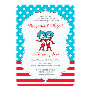 Twin birthday invitations zazzle thing 1 thing 2 twins birthday invitation filmwisefo