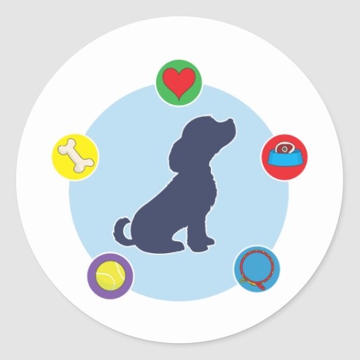 Things Dogs Love Round Stickers