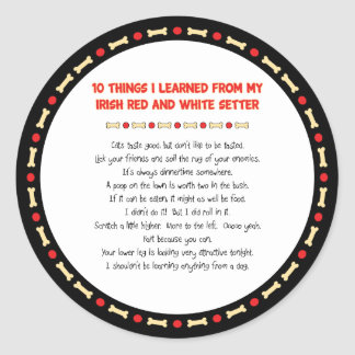 Things I Learned From Irish Red and White Setter Classic Round Sticker
